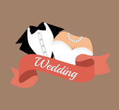 suit and bridal gown wedding design graphic Royalty Free Stock Image