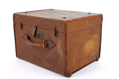 Suit-case box. Isolated old hat box Stock Photography