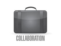 Suit case with the word collaboration. Stock Photo