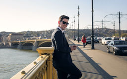 Suit in the city stock image