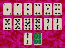 Suit of clubs playing cards on purple background Royalty Free Stock Photo