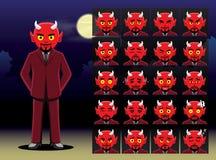 Suit Devil Cartoon Emotion faces Vector Illustration Royalty Free Stock Photo