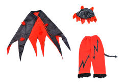 Suit of devil on white background. Devil carnival costume Royalty Free Stock Images