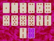 Suit of diams playing cards on purple background stock illustration