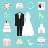 Suit and gown surrounded by wedding icons Royalty Free Stock Images