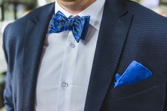 Suit of the groom close up stock photography