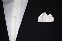 Suit with handkerchief. Close up of a black suit with handkerchief Royalty Free Stock Photos