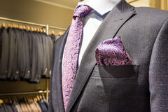 Suit Handkerchief Business Mannequin Store Luxury Professional P. Urple Paisley Tie Texture Closeup Dress Royalty Free Stock Photography