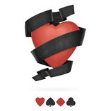 Suit of Hearts Playing With Ribbon Royalty Free Stock Photo