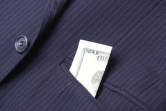 Suit Jack With Money In Pocket Stock Photography