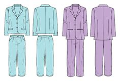 Suit with jacket and pants for women Stock Images