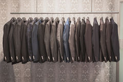Suit jackets on display at Si' Sposaitalia in Milan, Italy Stock Images