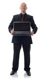 Suit with laptop. Man in suit with laptop  on white Stock Photography
