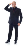 Suit looking. Man in suit looking  on white background Stock Images