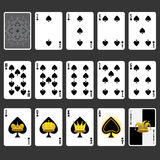 Spade Suit Playing Cards Full Set Stock Photography