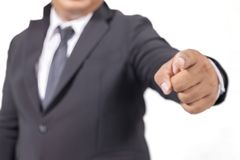 Suit pointing with his finger. Businessman in a suit pointing with his finger Stock Photography