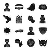 Suit, sign, superman, and other web icon in black style. Lifeguard, protector, superpower icons in set collection. Suit, sign, superman, and other  icon in Stock Photos