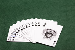 A Suit Of Spades. A full suit of thirteen Spades playing-cards laid out in a fan shape on a green baize background Royalty Free Stock Photos