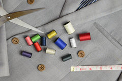 Suit tailor equipment, on double breasted suit Royalty Free Stock Photography