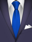 Suit and tie. Suit and blue tie with cards in pocket Stock Image