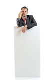 Suit tie businessman displaying placard Royalty Free Stock Photography
