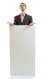 Suit tie businessman displaying placard Stock Photography