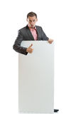 Suit tie businessman displaying placard Stock Photos