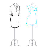 Suit and wearing women's clothes on mannequins made in thumbnail style Royalty Free Stock Photo
