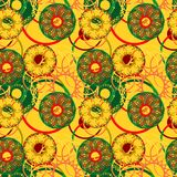 Bright and exotic tribal seamless pattern with mandalas Royalty Free Stock Photos
