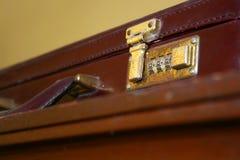 Suitcase. Old retro brown suitcase locker Stock Images
