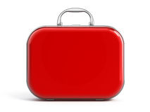Suitcase. Red Suitcase isolated over white Stock Photography
