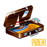 Suitcase. Sea landscape in a suitcase Royalty Free Stock Photo