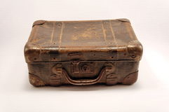 Suitcase. Old brown suitcase for travel, white background royalty free stock photo