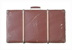Suitcase. Scratched old suitcase on white background royalty free stock photo