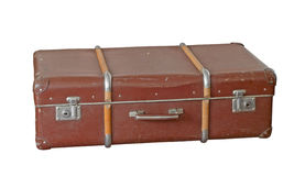 Suitcase. Scratched old suitcase on white background, with clipping path included royalty free stock photography