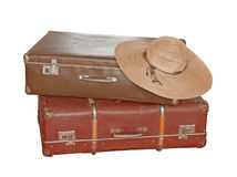 Suitcase. Scratched old suitcase on white background, with clipping path included royalty free stock image
