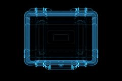 Suitcase 3D rendered xray blue Royalty Free Stock Image