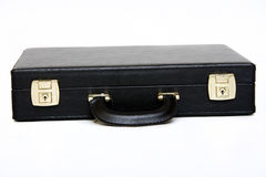 Suitcase. Picture of a black leather suitcase view from front Royalty Free Stock Photography