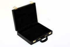 Suitcase. Picture of a open black leather suitcase view from top Royalty Free Stock Images