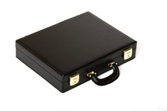 Suitcase. Picture of a black leather suitcase view from top Stock Image