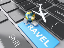 Suitcase, airplane and earth on computer keyboard. Travel concep. 3d renderer illustration. travel suitcase, airplane and earth on computer keyboard. Travel Stock Photography