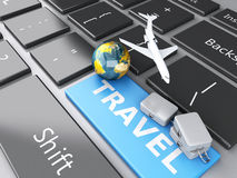 Suitcase, airplane and earth on computer keyboard. Travel concep. 3d renderer illustration. travel suitcase, airplane and earth on computer keyboard. Travel Stock Photo