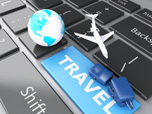 Suitcase, airplane and earth on computer keyboard. Travel concep. 3d renderer illustration. travel suitcase, airplane and earth on computer keyboard. Travel Royalty Free Stock Photography
