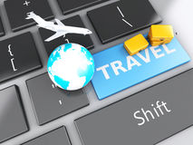 Suitcase, airplane and earth on computer keyboard. Travel concep. 3d renderer illustration. travel suitcase, airplane and earth on computer keyboard. Travel Stock Images