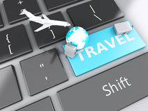 Suitcase, airplane and earth on computer keyboard. Travel concep Stock Images