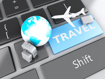 Suitcase, airplane and earth on computer keyboard. Travel concep. 3d renderer illustration. travel suitcase, airplane and earth on computer keyboard. Travel Royalty Free Stock Image
