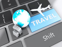Suitcase, airplane and earth on computer keyboard. Travel concep Stock Photos