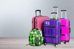 Suitcase. Airport rucksack backpack polycarbonate pocket knapsack Stock Images