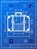 Suitcase as blueprint drawing Royalty Free Stock Photo