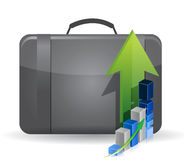 Suitcase bag and business graph Royalty Free Stock Image